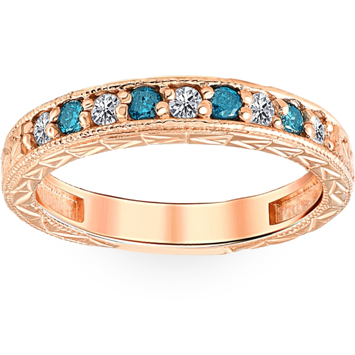1/4CT Blue & White Diamond Vintage Wedding Anniversary Ring 14K Rose Gold (H/I, I1-I2)