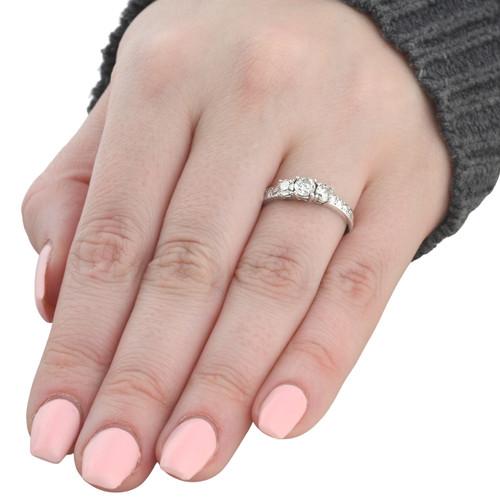 1 Ct Three Stone Diamond Engagement Ring 14K White Gold (H/I, I2-I3)