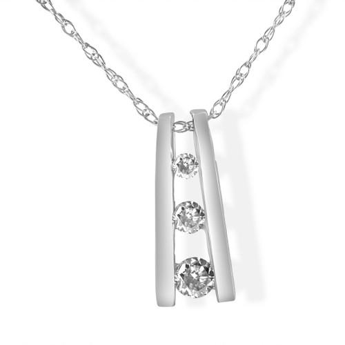 1/10ct Diamond Three Stone Pendant 14K White Gold (G/H, I1)