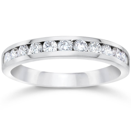 1/2ct Channel Set Diamond Wedding Ring 14K White Gold (G/H, VS2)