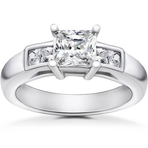 1 1/2 ct Princess Cut Solitaire Diamond Engagement Ring 14 K White Gold Enhanced (H/I, I1-I2)