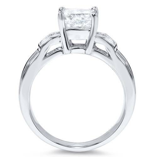 1 1/2 ct Princess Cut Solitaire Diamond Engagement Ring 14 K White Gold Enhanced (H/I, I1-I2)