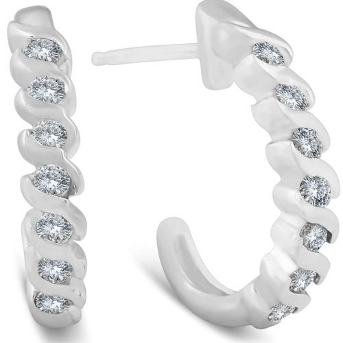 3/8ct Diamond Hoop Earrings 14K White Gold (G, I1-I2)