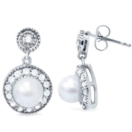 3/8ct Diamond & Pearl Vintage Gatsby Style Earrings 10K White Gold (H/I, I3)