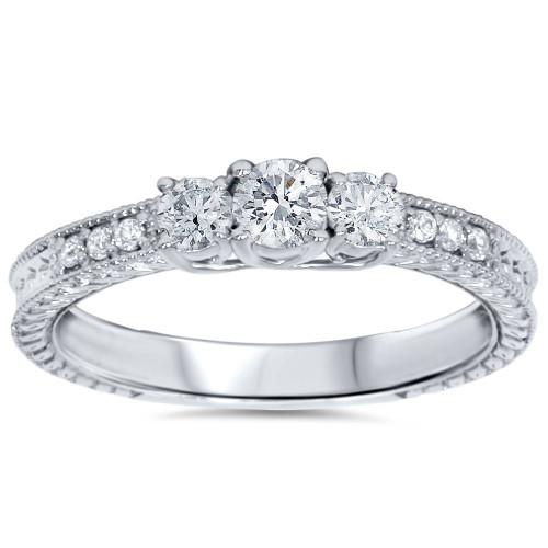 1/2ct Vintage Three Stone Round Diamond Engagement Ring 14K White Gold (H, SI2)