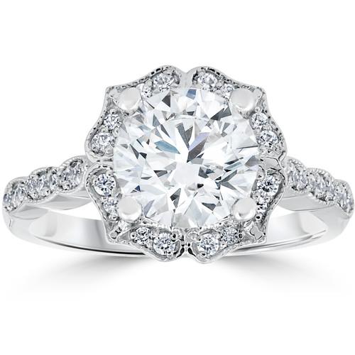 2 ct Diamond Engagement Ring Vintage Halo Milgrain 14k White Gold Enhanced (G/H, SI2-I1)