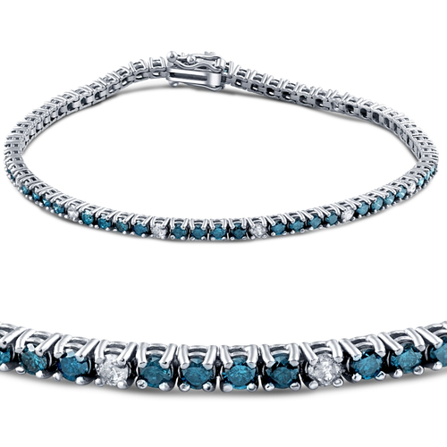 2ct Treated Blue & White Diamond Tennis Bracelet 14K White Gold (G, I2)