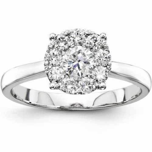 1/2 cttw Halo Cluster Diamond Engagement Illusion Ring 14k White Gold (G/H, SI(1)-SI(2))