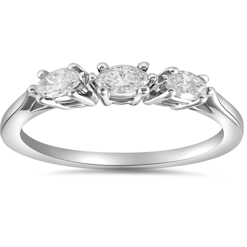 1/3ct Marquise Diamond Wedding Ring Womens Stackable Band 14k White Gold (G/H, SI2-I1)