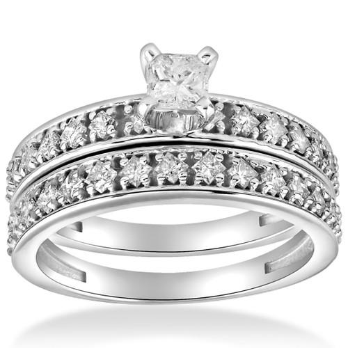 1 cttw Princess Cut Diamond Engagement Wedding Ring Set 10k White Gold (H/I, I2-I3)