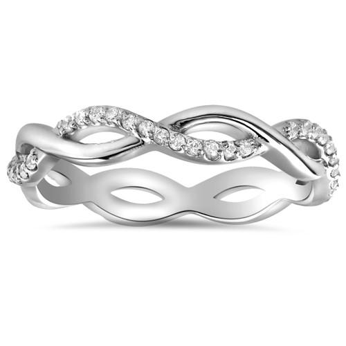 1/3cttw Diamond Infinity Eternity Wedding Ring Stackable 14k White Gold (H/I, I1-I2)