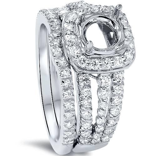 1ct Cushion Halo Diamond Engagement Mount Set 14K White Gold (G/H, SI1-SI2)