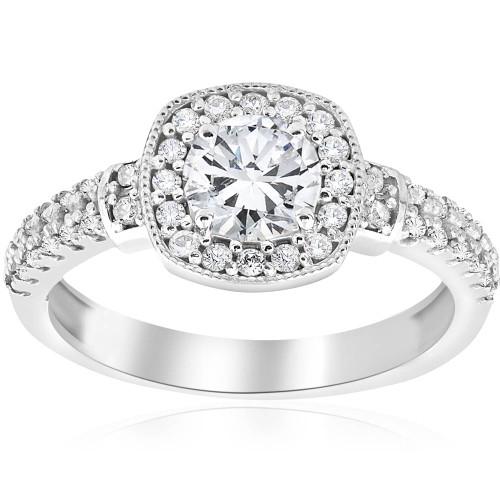 1ct Diamond Pave Cushion Halo Vintage Engagement Ring 14K White Gold (G/H, I1-I2)