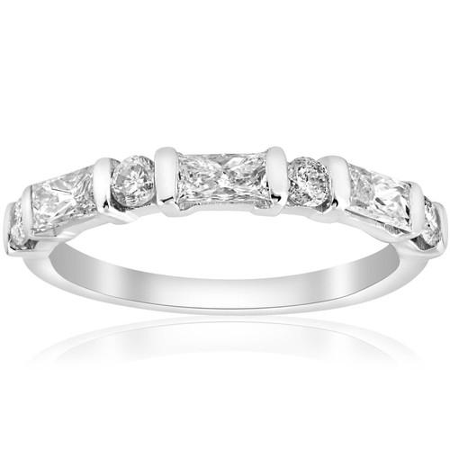 White Gold 1/2ct Round & Baguette VS Diamond Ring (G/H, VS)