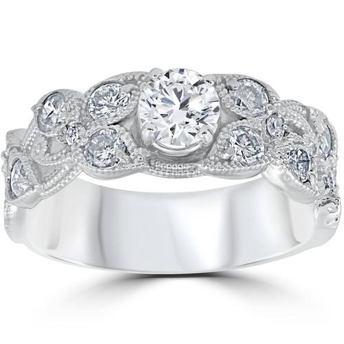 2ct Vintage Filigree Diamond Engagement Ring 14K White Gold (H/I, I1-I2)