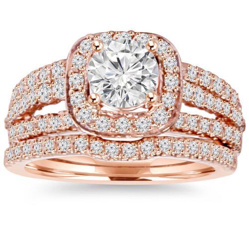 1.50CT Cushion Halo Diamond Engagement Ring Set 14K Rose Gold (H/I, I1-I2)