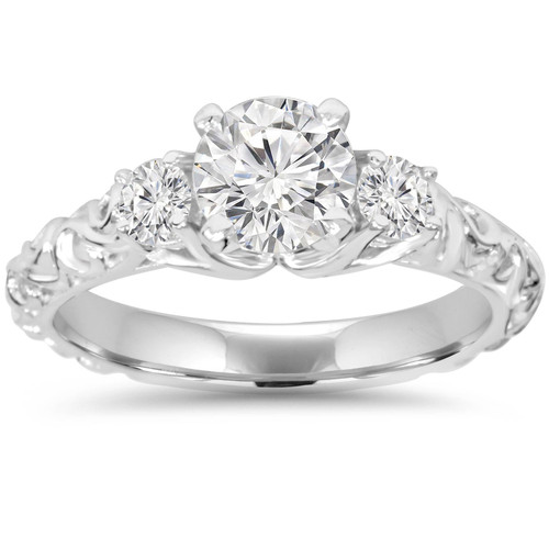 1 1/3Ct Vintage 3-Stone (1Ct Center) Enhanced Diamond Engagement Ring White Gold (G/H, I1)