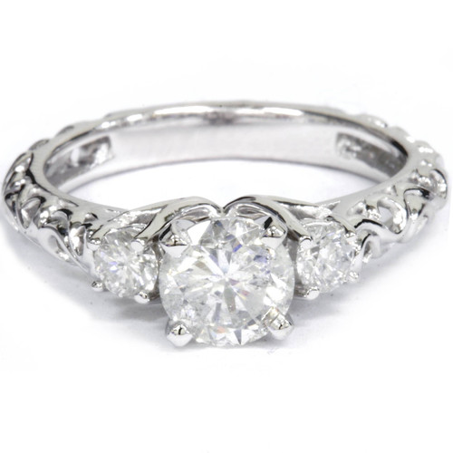 1 1/3Ct Vintage 3-Stone (1Ct Center) Enhanced Diamond Engagement Ring White Gold (G/H, I1)