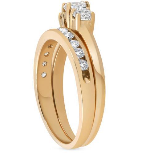 14k Yellow Gold 1ct Diamond Engagement Wedding Ring Set 3Stone Channel Set Round (G/H, I1)