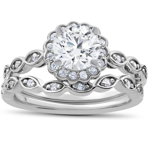 1 Carat D VS2 Enhanced Halo Diamond Engagement Ring Set Round Cut 14K White Gold (D, VS(2)-SI(1))
