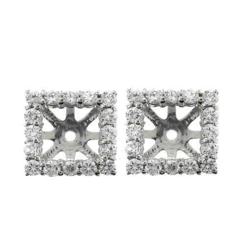 1 1/4ct Princess Cut Diamond Halo Earring Jackets 14K White Gold (up to 6mm) (G-H, SI)