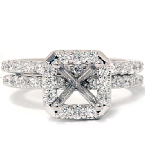 3/4ct Pave Halo Diamond Ring Set 14K White Gold (G/H, I1)