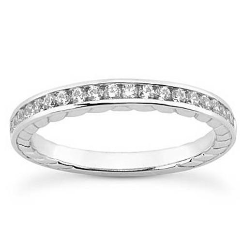1/3ct Channel Set Diamond Wedding Ring 14K White Gold (G/H, I1-I2)