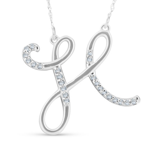 "1/4ct Diamond ""H"" Initial Pendant 18"" Necklace 14K White Gold (G/H, I2)"