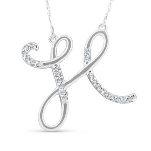 "1/4ct Diamond ""H"" Initial Pendant 18"" Necklace 14K White Gold (G/H, I2)"