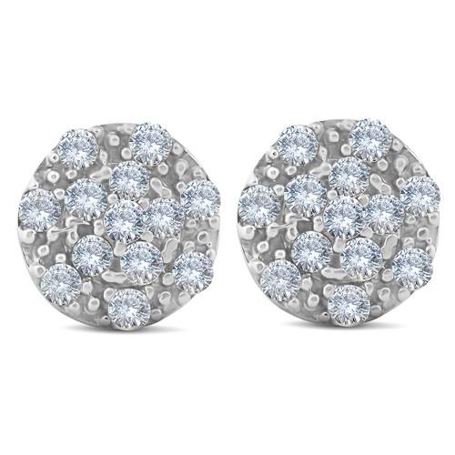 1/3ct Halo Diamond Cluster Studs 10k White Gold 8.5mm (H-I, I2)