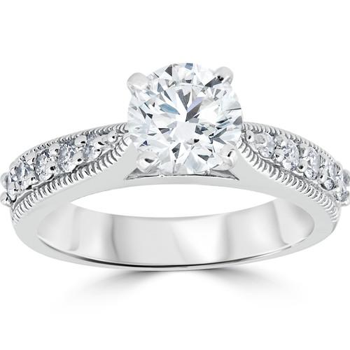 1 7/8ct Diamond Engagement Ring Round Vintage Enhanced 14k White Gold (G/H, SI(1)-SI(2))