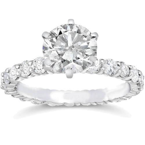 3 1/2ct Clarity Enhanced Diamond Eternity Engagement Ring 14K Round Cut White Gold (I/J, I2-I3)