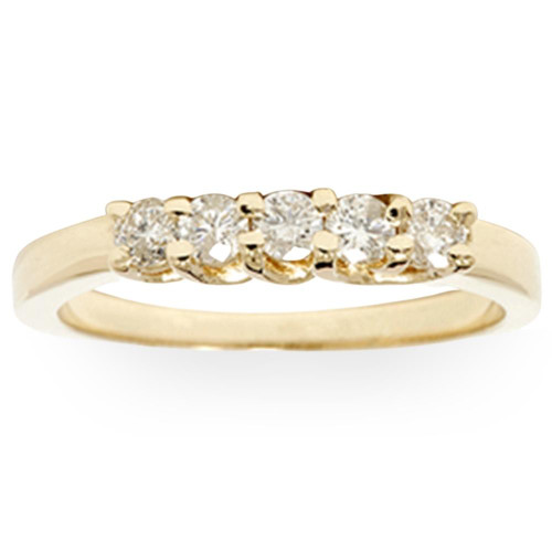 Yellow Gold 1/2ct 14K Diamond Wedding Guard Ring New (G/H, I1)