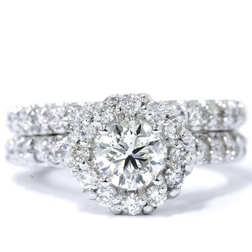 1 7/8ct Halo Diamond Engagement Ring Set 14K White Gold (G/H, I1-I2)