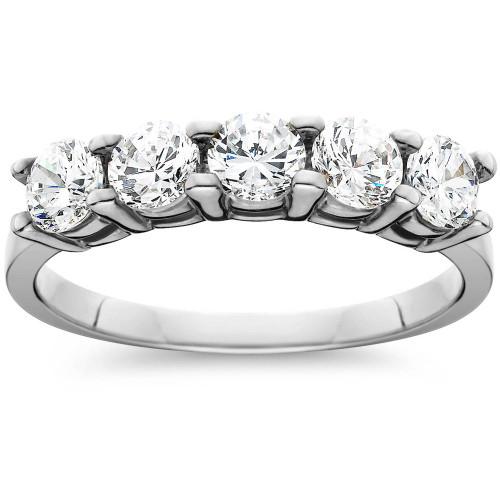 1ct Five Stone Genuine Round Diamond Wedding Anniversary Ring 14K White Gold (I-J, I2-I3)