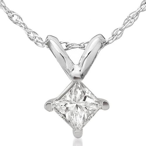 1/2ct Princess Cut Real Diamond Solitaire Pendant Necklace 14k White Gold New (J, I2-3)
