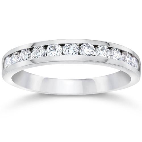 950 Platinum Channel Set Diamond 1/2ct Wedding Ring (G/H, VS)