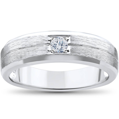 Mens White Gold Solitaire Brushed Diamond Wedding Ring (G, SI)