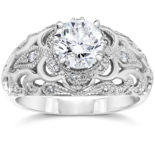 Emery .75Ct Vintage Diamond Genuine Engagement 14K White Gold (H/I, I1)