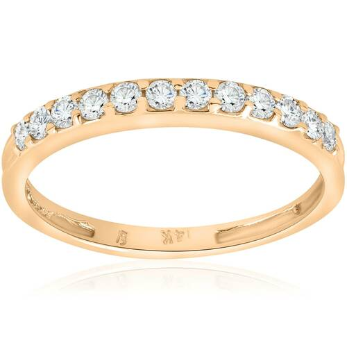 1/2ct Diamond Wedding Ring 14K Yellow Gold Womens Stackable Band Jewelry Round (G/H, I1)