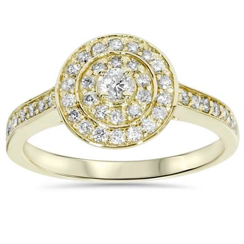1/2ct Diamond Double Halo Engagement Ring 10K Yellow Gold (H/I, I2-I3)