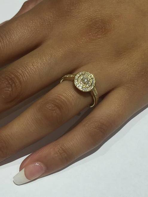 1/2ct Diamond Double Halo Engagement Ring 10K Yellow Gold (H/I, I2-I3)