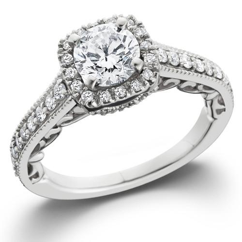 7/8ct Cushion Diamond Vintage Halo Engagement Ring 14K White Gold (G/H, SI1-SI2)