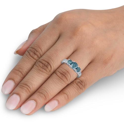 1 Carat Treated Blue Diamond Vintage 3 Stone Ring 10K White Gold (J-K, I1-I2)