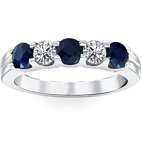 1 Ct Blue Sapphire Diamond Five Stone Wedding Anniversary Ring 14K White Gold (H/I, I1-I2)