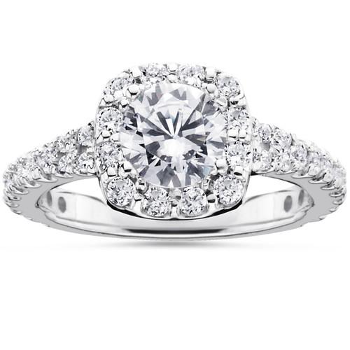 1 1/2ct Cushion Halo Diamond Engagement Ring 14K White Gold Round Brilliant Cut (G/H, I1)