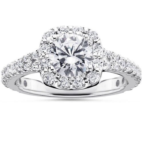1 1/2ct Cushion Halo Diamond Engagement Ring 14K White Gold Round Brilliant Cut (G/H, I1)