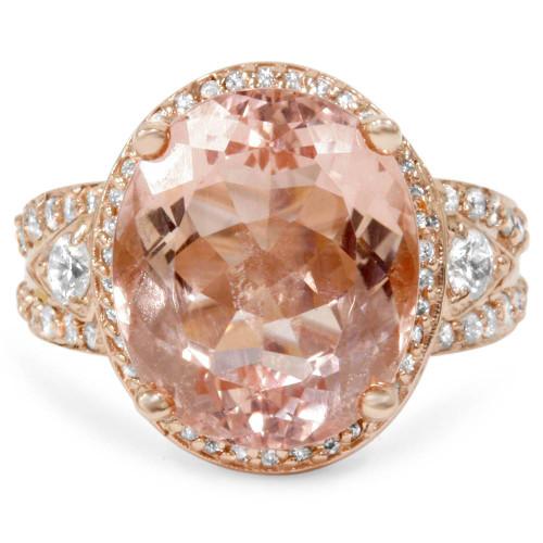 9ct Morganite & Diamond Engagement Ring 14K Rose Gold Halo Split Shank (G-H, I2)