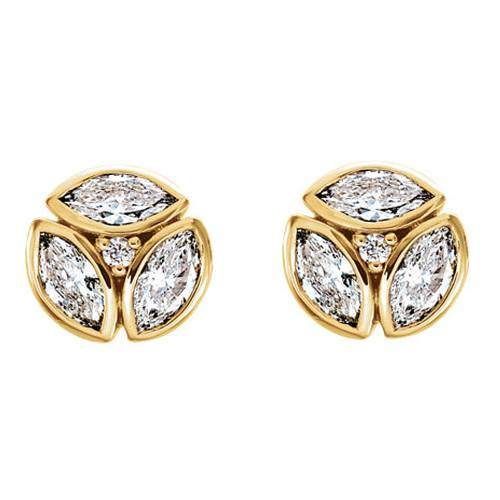 1/2cttw Marquise Diamond Cluster Studs 14k Yellow Gold (G, SI1)