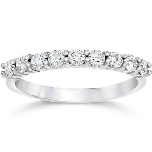 1/2ct Diamond Wedding Ring Half Eternity Wedding Band 14K White Gold (I/J, I2)